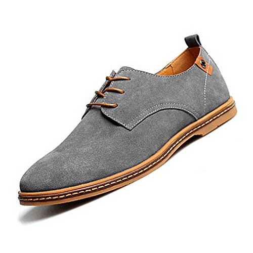 TOOGOO(R) NEUF 2014 Daim Style Europeen Chaussures en Cuir Hommes oxfords Casual Gris Taille UK8.5 EU41