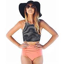 Imixshopcs Women's Girls 2 Piece Striped High Waist Bikini Set Bathing Suit