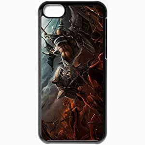 Personalized iPhone 5C Cell phone Case/Cover Skin Art Barbarian Demons Scramble Weapon Great Black