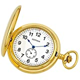 Gotham Men's Gold-Tone Double Hunter Deluxe 17 Jewel Mechanical Pocket Watch # GWC18805G