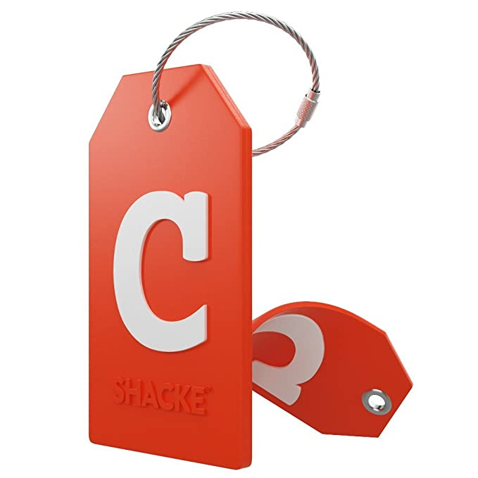 Initial Luggage Tag with Full Privacy Cover and Stainless Steel Loop – (Letter C)