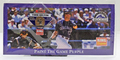 Todd Helton Collectible  Paint The Game Purple  Lapel Pin   Issued In 2003 By The Colorado Rockies And King Soopers Commemorating Gold Glove   Silver Slugger Awards  Free Shipping   Tracking