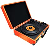 Pyle Upgraded Vintage Record Player - Classic Vinyl Player, Turntable, Rechargeable Batteries, Bluetooth, MP3 Vinyl, Music Editing Software Included, Works w/Mac & PC, 3 Speed - PVTTBT6OR (Orange)
