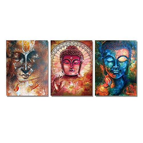 HD Print 3 Panel Buddha Statue Canvas Prints Wall Art Picture Oil Painting for Living Room (14x20inchx3pcs) - Frameless Oil Painting Set