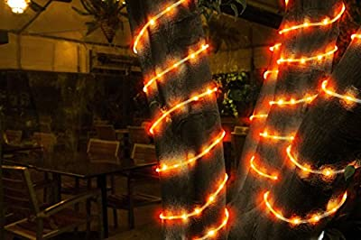 All Occasions Indoor Outdoor LED 16 FT Total Mini Rope Light Home Commercial Christmas Decoration, Orange