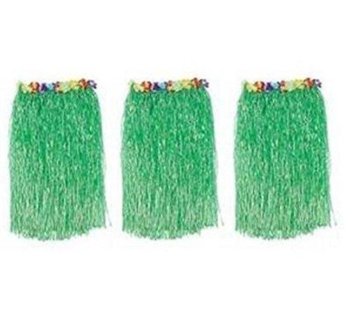 Idealgo 3pcs Green Waistbands Hawaii Hula Party Skirt (Tropical Floral Silk Skirt)