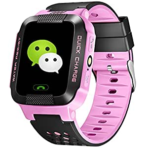 ALLCACA Kids Smart Watch Multi-functional GPS Tracker Anti-lost SOS Smart Bracelet, Suitable for iPhone and Android Smartphone, Black and Pink