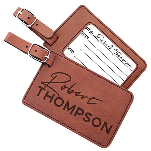 Luggage Tags Personalized Name Custom Cruise Tags For Women Men Kids Families | 6 Different Color Monogram Luggage Name Tags Christmas Gifts For Travelers Leatherette Suitcase Tag Travel Bag Label #7 ()