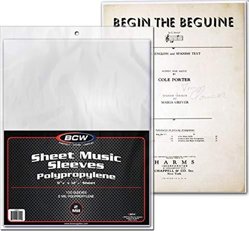 BCW Sheet Music Sleeves 2-mil Polypropylene 9-3/8