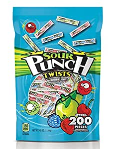 """Sour Punch 3"""" Wrapped Sour Straw Twists 40oz bag (Pack of 6)"""
