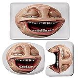 3 Piece Bath Mat Rug Set,Humor-Decor,Bathroom Non-Slip Floor Mat,Poker-Face-Guy-Meme-Laughing-Mock-Person-Smug-Stupid-Odd-Post-Forum-Graphic,Pedestal Rug + Lid Toilet Cover + Bath Mat,Peach-Pearl