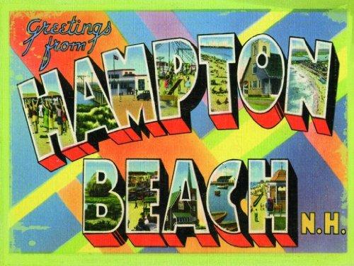 Road American Trip Traditional (Hampton Beach New York Metal Sign, Vintage Travel Postcard Highlighting Traditional American Destinations)