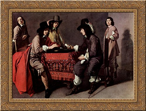 Backgammon players 24x18 Gold Ornate Wood Framed Canvas Art by Le Nain brothers