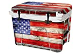 USA Tuff Thickest & Toughest Wrap 24Mil Cooler Accessories Decal for YETI 35QT Tundra Full Kit - USA Flag Wood Color