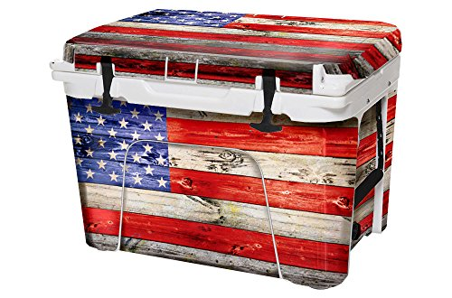 USA Tuff Thickest & Toughest Wrap 24Mil Cooler Accessories Decal for YETI 35QT Tundra Full Kit – USA Flag Wood Color