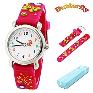 Vinmori Kid's Watch, with 3D Cartoon Butterfly Silicone Band Waterproof Quartz Watch Children(Pink)