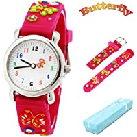 Kid's Watch, Vinmori Cute Cartoon Butterfly Silicone Band Waterproof Quartz Watch for 4-10 Year Old Girls