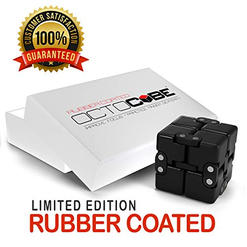 - OCTOCUBE Infinity Cube Fidget Toy w/Gift Box - Luxury Infinite Cool Gadget for Kids - Prime Sensory Stress Relief, Pressure Reduction - Limited Edition Black Rubber Coated