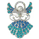 Brooches Store Blue and Turquoise Crystal Guardian Angel Brooch