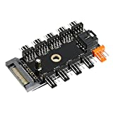 Electop Chassis Fan Hub CPU Cooling HUB 10 Port 12V 4 Pin Fan PWM Fan Hub SATA Controller