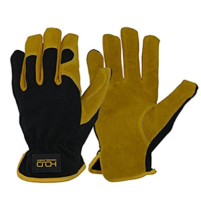 Leather Hybrid Work Gloves, Utility Gloves for Driver, Mechanics, Gardening - Premium Split Cowhide Dexterity & Breathable Design