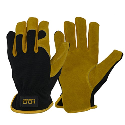 Men Work Gloves for Gardening, Mechanics, Construction, Driver, Cowhide Leather Palm, Dexterity Breathable Design by HANDLANDY
