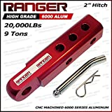 "Ranger 2"" Aluminum Hitch Receiver 3/4"" Shackle Adapter 20,000 LBs by Ultranger Glossy (Red)"