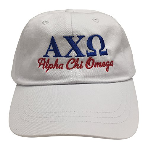Fraternity Baseball (Alpha Chi Omega (S) White Designer Baseball Hat Cap Fraternity Greek Letter Sorority Sports Cap with Blue/Red Thread One Size Adjustable Strap an AXO)