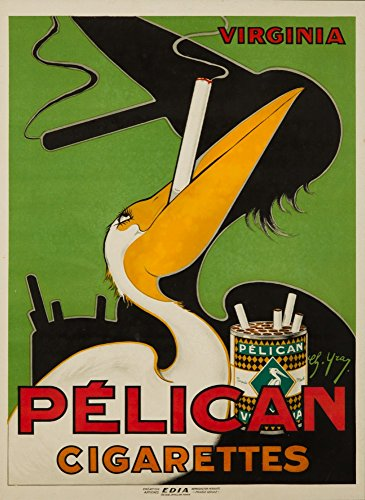 Pelican Cigarettes Vintage Poster (artist: Yray) France (24x36 Giclee Gallery Print, Wall Decor Travel Poster)