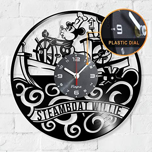 (Steamboat Willie Clock Mickey Mouse Clock Steamboat Willie Vinyl Walt Disney Mickey Mouse Disney Gifts Steamboat Willie Decor Decorations Nursery Kids Room Decor Cartoon Clock Vintage Black)