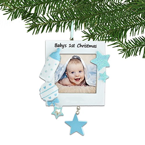 - Personalized Baby's 1st Christmas Blue Photo Frame Tree Ornament 2019 - Toy Stars Bottle Rattle Boy's First New Mom Shower Picture Display Milestone Memory Grand-Son Gift Year - Free Customization