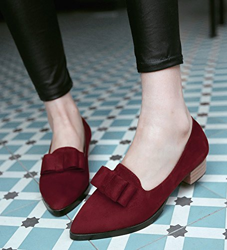 Aisun Donna Carino Faux Suede Dressy Punta A Punta Grosso Tacco Basso Slip On Wear To Work Pumps Shoes With Bows Wine Red