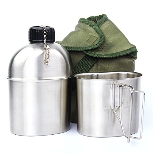 TargetEvo 1.2QT Portable Water Bottle Stainless Steel Military Canteen with Cup Green Bag Outdoor Sport Camping Hiking Travel