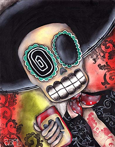 Martin Mariachi by Abril Andrade Sugar Skull Day of The Dead Framed Art Print ()