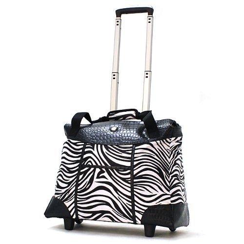 Olympia Deluxe Zebra Women's Rolling 17-inch Laptop Tote