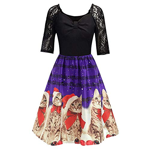 Lamps Plus Victorian Floor Lamp - JOFOW Womens Umbrella Dresses Christmas Cute Cat Musical Notes High Waist Belted Swing Casual Tunic Elegant Midi (2XL =US:10-14,Purple)