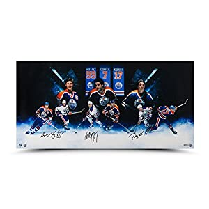 "WAYNE GRETZKY, PAUL COFFEY and JARI KURRI Autographed ""Oilers""¨ Greats"" 36 x 18 Photo UDA"