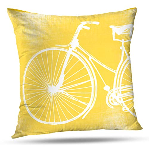 Throw Training Pillow (KJONG Yellow and White Bicycle Zippered Pillow Cover,Square Decorative Throw Pillow Case Fashion Style Cushion Covers(20 x 20 inch,Two Sides Print))