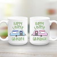 Grandpa and Grandma Happy Camper 2 Mug Gift Set, 2 15 oz Coffee Mugs