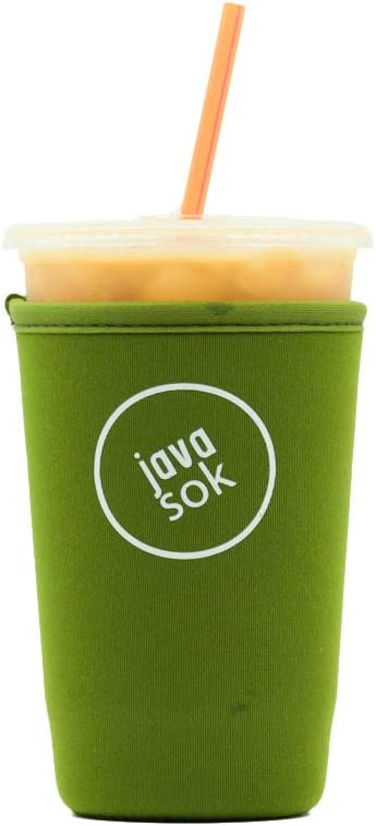 Java Sok Reusable Iced Coffee Cup Insulator Sleeve for Cold Beverages and Neoprene Holder for Starbucks Coffee, McDonalds, Dunkin Donuts, More (Green,