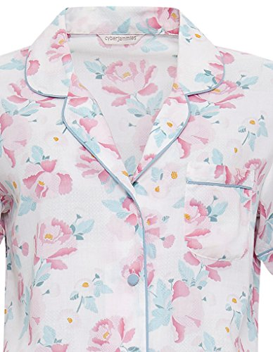 Cyberjammies 3315 Women's Olivia Pink and Sage Green Floral Print Cotton and Modal Pajama Sleepwear PJs Pyjama Top