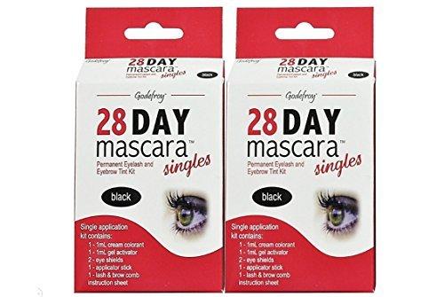 Godefroy 28 Day Mascara Permanent Eyelash and Eyebrow Tint Kit Single (Black) - Pack of 2