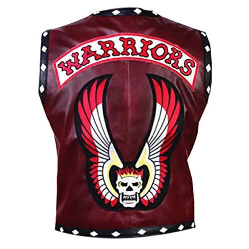 Mens Faux Leather Warriors Vest Maroon Faux Leather Biker Vest (Medium)