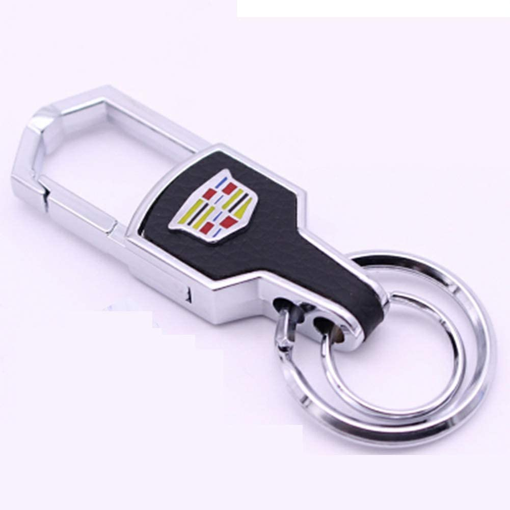 Cadillac Gaocar Auto Parts 2Pcs Genuine Leather Car Logo Keychain for Cadillac Key Chain Accessories Keyring with Logo Family Present Fit Man and Woman