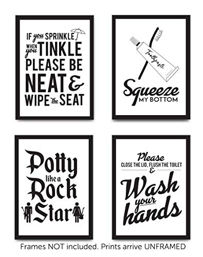Glam Rock Decor (Designs by Maria Inc. Set of 4 Funny Bathroom Quotes & Rules (Unframed) Best Modern Toilet Decor Words & Letters | Premium Card Stock Sayings Posters | (8x10) Black &)