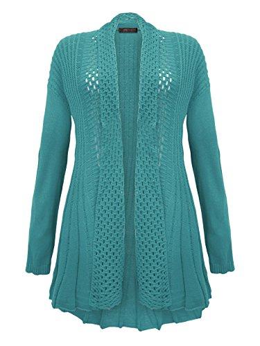 Envy Boutique–Crochet de Punto Boyfriend Cardigan Top Plus tamaños 16–�?6 Turquesa
