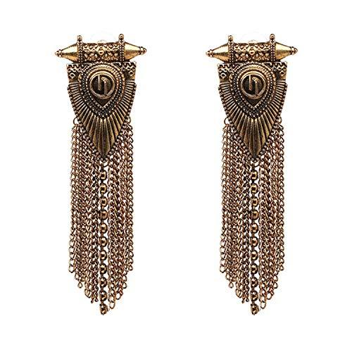Vintage Long Metal Chain Tassel Earrings Fringed Jewelry Ethnic Handmade Firenze Statement Earrings ()