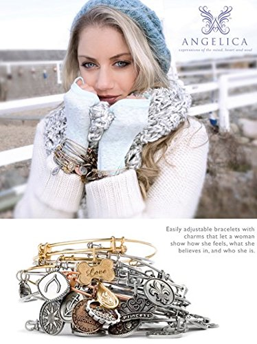 Angelica Collection Jaune Laiton Mom sur 7Feuille Fleur Mère Charm Bracelet