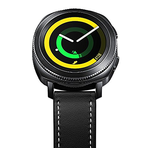 Aottom Compatible for Samsung Galaxy Watch 42mm Band Leather 20MM Smart Watch Replacement Band Metal Bracelet Wristband for Samsung Galaxy Watch Active 40mm / Galaxy Watch 42mm / Gear Sport, Black