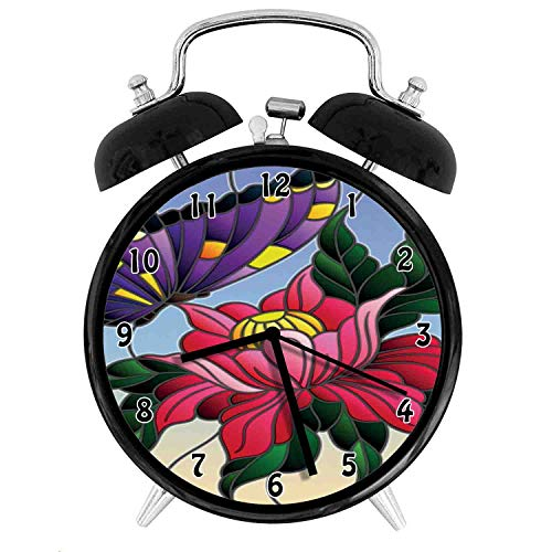 one-six-one Aster, Stained Glass Pattern with Butterfly and a Flower Mosaic Garden Art Illustration, Multicolor Twin Bell Alarm Clock with Backlight,Desk Table Clock for Home and Office 4in - Black